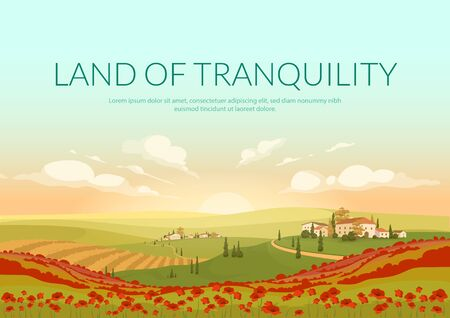 Land of tranquillity poster flat vector template. Italian village landscape Brochure, booklet one page concept design with illustration. Classic Tuscan scenery flyer, leaflet