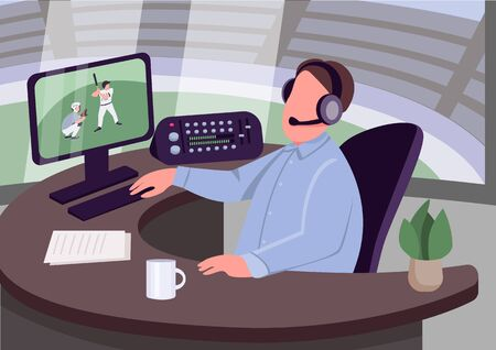 Sports commentator flat color vector illustration. Caucasian man commenting sportive event 2D cartoon character with stadium on background. Baseball match live overview. Informational broadcast
