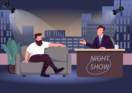 Evening talk show flat color vector illustration. Chat show host and famous guest 2D cartoon characters with studio on background. Entertaining communication with famous personalities Vector Illustration
