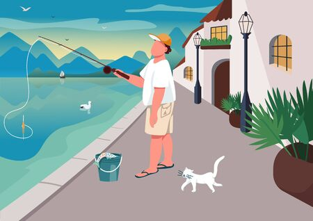 Man fishing at waterfront area flat color vector illustration. Summer time leisure. Guy angling on seafront. Fisher 2D cartoon character with ocean and village houses on background