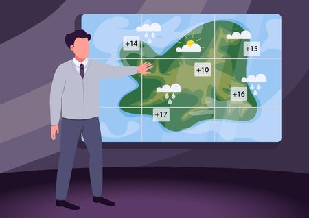 Weather broadcast flat color vector illustration. Male weather presenter 2D cartoon character with atmospheric precipitation map on background. Daily weather update. Meteorological news program