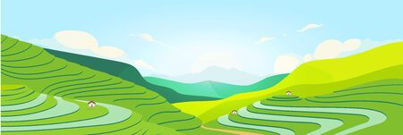 Terraced fields at sunset flat color vector illustration. Chinese farmland. Tea plantations 2D cartoon landscape with mountains on background. Asian meadow. Agricultural area Vettoriali