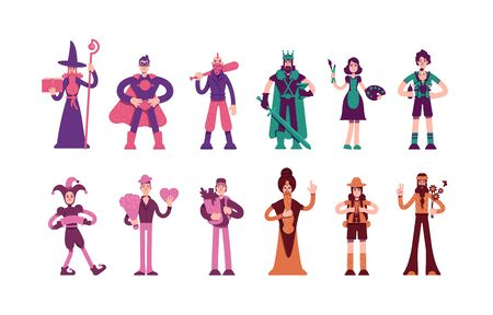 Twelve archetypes flat color vector characters set. Magician and hero in cape. Medieval king and wise man. People personality types isolated cartoon illustrations on white background Ilustración de vector