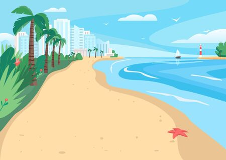 Sandy beach flat color vector illustration. Coastline with skyscrapers and tropical palms. Exotic summer seafront 2D cartoon landscape with modern city buildings on background Vettoriali