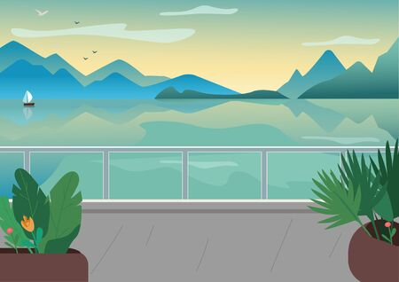 Seaside resort street flat color vector illustration. Waterfront terrace. Lake and mountains skyline. Picturesque nature view. Seafront 2D cartoon landscape with ocean at sunrise on background Vettoriali