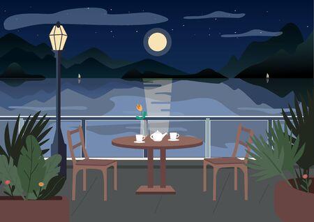 Straßenrestaurant in der Nacht flache Farbvektorillustration. Café-Tisch auf der Terrasse serviert. Abendessen. 2D-Cartoon-Landschaft am Meer mit Segelbooten, Bergen und Meer im Hintergrund