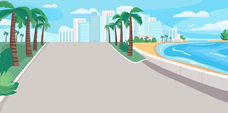 Luxury seaside resort boulevard flat color vector illustration. Waterfront street with skyscrapers and tropical palms. Seafront 2D cartoon landscape with sandy beach and city buildings on background