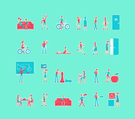 Healthy lifestyle cartoon vector characters set. Pregnant woman. Active life constructor. Man and woman flat color illustrations collection. Body care isolated pack on turquoise background Illustration