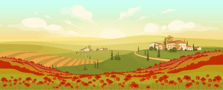 Classic Tuscan scenery flat color vector illustration. Italian hilltop towns at sunset 2D cartoon landscape. Romantic view of poppy and wheat fields. Winding roads in European countryside
