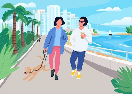 Couple with dog walking along seafront flat color vector illustration. Summer recreation in tropical resort town. Boyfriend and girlfriend 2D cartoon characters with waterfront on background  イラスト・ベクター素材