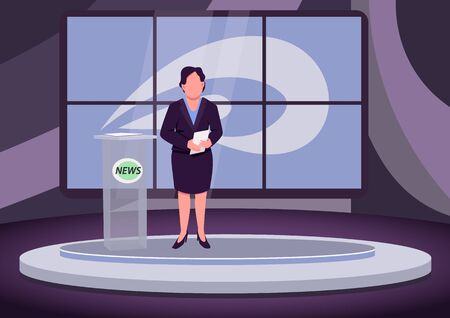 News analysis flat color vector illustration. Female newscaster, expert, professional anchorwoman 2D cartoon character with studio on background. Analytical television program, studio report Illustration