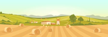 Farm in countryside flat color vector illustration. Farmland 2D cartoon landscape with mountains on background. Bales of hay on yellow agricultural field. Stacks of wheat in rural area 일러스트