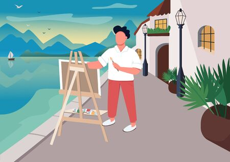 Artist painting at seaside flat color vector illustration. Outdoor art class. Summer time leisure. Man with easel 2D cartoon character with ocean and resort town houses on background