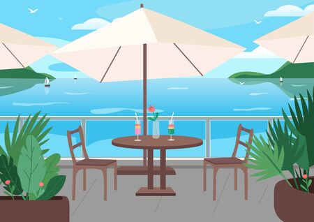 Street restaurant at seaside resort flat color vector illustration. Soft alcohol drinks on table. Seafront cafe 2D cartoon landscape with sailing boats, mountains and ocean on background
