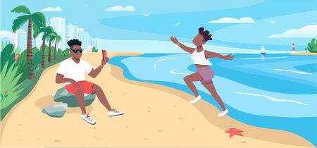 Friends taking photo at sandy beach flat color vector illustration. Summertime recreation. Tourist taking selfie 2D cartoon character with ocean and tropical palm trees on background Vettoriali
