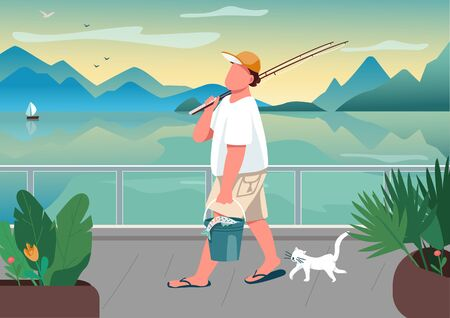 Man fishing rod at waterfront area flat color vector illustration. Male fisher with cat. Summer time leisure. Guy angling on seafront. Guy 2D cartoon character with ocean on background Vettoriali