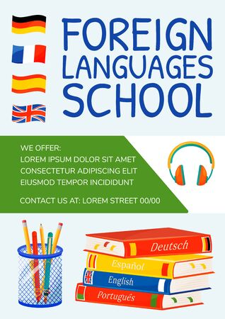 Foreign languages school poster flat vector template. Linguistics learning. Internet courses. Brochure, booklet one page concept design with cartoon characters. Language practice flyer, leaflet