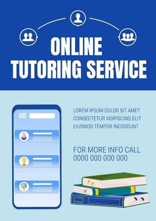 Online tutoring poster flat vector template. Elearning service. Internet courses. Homework help. Brochure, booklet one page concept design with cartoon characters. Teaching flyer, leaflet