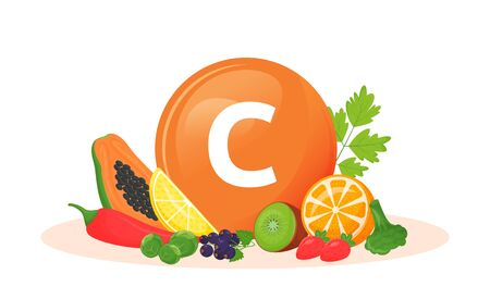 Vitamin C food sources cartoon vector illustration. Antioxidant in fresh fruits, vegetables. Greens flat color object. Healthy vegetarian diet. Vegan food isolated on white background Ilustrace