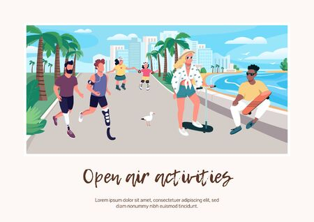 Open air activities banner flat vector template. Brochure, poster concept design with cartoon characters. People on seafront. Summer holiday recreation horizontal flyer, leaflet with place for text