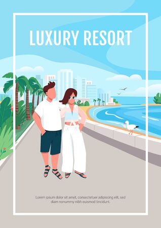 Luxury resort poster flat vector template. Couple in love walking on seafront. Brochure, booklet one page concept design with cartoon characters. Romantic summer holiday flyer, leaflet