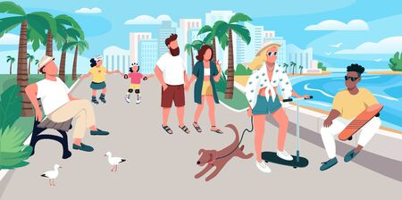 People walking on resort town street flat color vector illustration. Summer recreation. Tourists activity. Holidaymakers at promenade 2D cartoon characters with waterfront on background