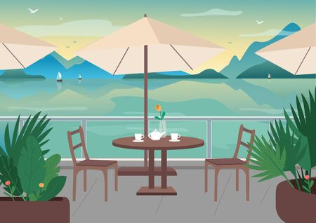 Street restaurant at seaside resort flat color vector illustration. Served cafe table on terrace. Seafront 2D cartoon landscape with sailing boats, mountains and ocean on background