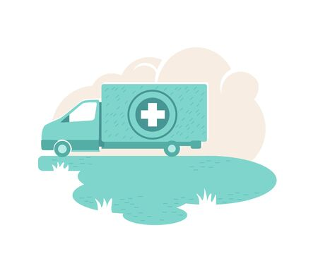 Humanitarian aid van 2D vector web banner, poster. Hospital car. Medications donation flat illustration on cartoon background. Charity organization vehicle printable patch, colorful web element