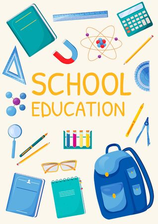School education poster flat vector template. Student accessories. School supplies. Brochure, booklet one page concept design with cartoon characters. Pupil items flyer, leaflet 向量圖像
