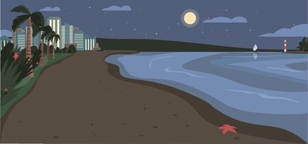 Sandy beach at night time flat color vector illustration. Evening coastline with skyscrapers and tropical palms. Exotic summer seafront 2D cartoon landscape with modern city buildings on background Ilustración de vector