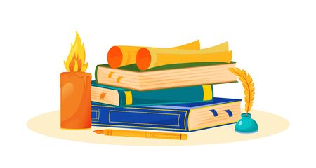 Creative writing flat concept vector illustration. Novel reading. Literature school subject. Storytelling study metaphor. University class. Books stack and inkwell 2D cartoon objects