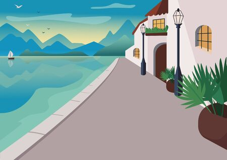 Seaside resort village flat color vector illustration. Waterfront street with buildings and tropical palms in pots. Seafront 2D cartoon landscape with mountains and ocean at sunrise on background Vettoriali