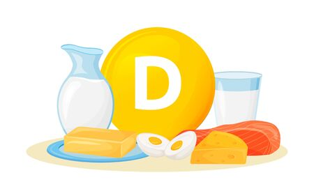 Vitamin D food sources cartoon vector illustration. Butter, cheese animal products. Eggs, milk, fish healthy diet flat color object. Wholesome nutrition isolated on white background Stock Illustratie