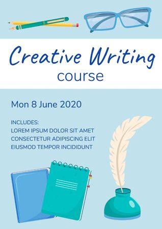 Creative writing course poster flat vector template. Remote education service. Internet class. Brochure, booklet one page concept design with cartoon characters. Lesson for writers flyer, leaflet