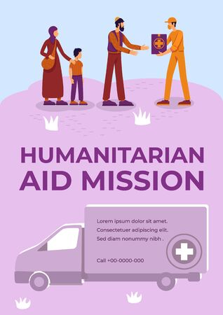 Humanitarian aid mission poster flat vector template. War refugees help. Volunteer services. Brochure, booklet one page concept design with cartoon characters. Food donation flyer, leaflet