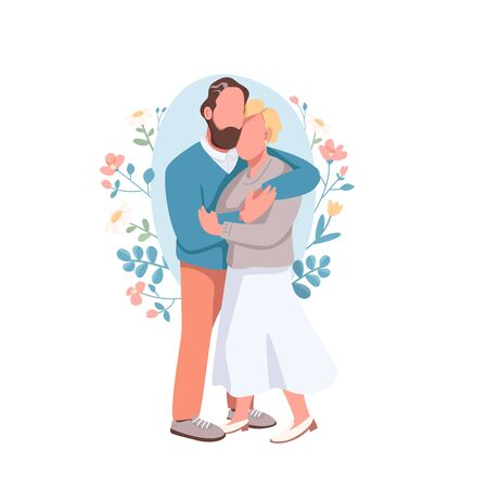 Married couple flat concept vector illustration. Husband embrace happy wife. Romantic date. Flirting pair. Family 2D cartoon characters for web design. Heterosexual relationship creative idea