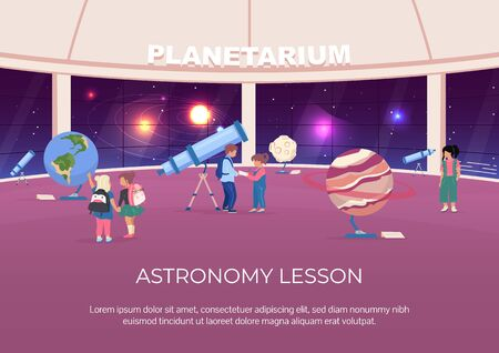 Astronomy lesson poster flat vector template. Children visit museum about solar system. Brochure, booklet one page concept design with cartoon characters.