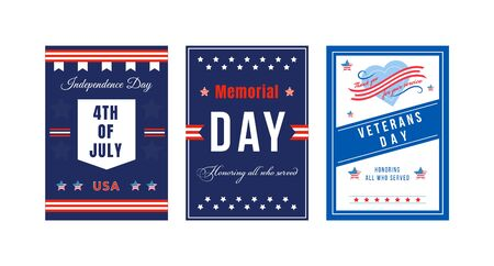 American national holiday poster flat vector templates set. Fourth of July. Brochure, booklet pages concept designs pack. USA Independence Day celebration flyer, leaflets collection Vectores