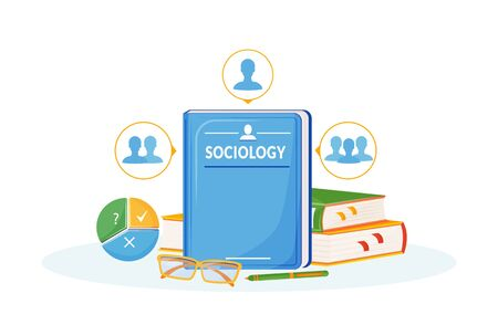 Sociology flat concept vector illustration. School subject. Social science metaphor. University course. Study of society. People interaction analysis. Student textbooks 2D cartoon objects