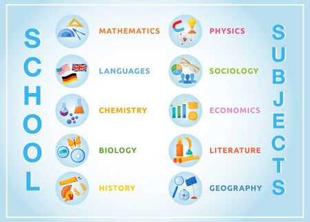 School subjects flat color vector objects set. Natural and formal science circle icons. Foreign language, literature, economics lessons 2D isolated cartoon illustrations on white background 向量圖像