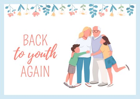 Back to youth again poster flat vector template. Grandchildren with grandparents. Brochure, booklet one page concept design with cartoon characters. Older generation care flyer, leaflet