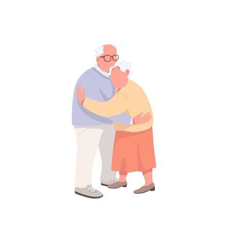 Elderly couple flat color vector faceless characters. Golden marriage. Grandmother and grandfather. Family relationship isolated cartoon illustration for web graphic design and animation
