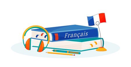 French learning flat concept vector illustration. Foreign language course. School subject. Linguistics study metaphor. University class. Student textbook and dictionary 2D cartoon objects