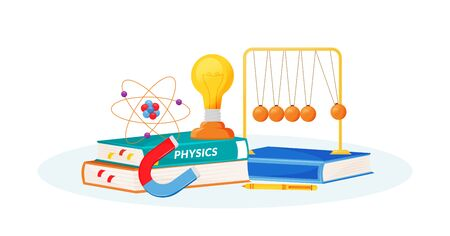 Physics flat concept vector illustration. School subject. Natural science metaphor. Practical class. University course. Student textbook and school laboratory items 2D cartoon objects