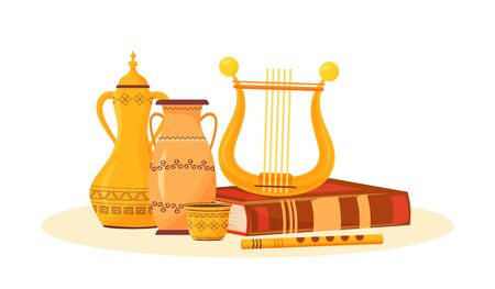 Art class flat concept vector illustration. Creative hobby. Ceramic pottery painting and music playing. School subject metaphor. Ancient musical instruments and book 2D cartoon objects