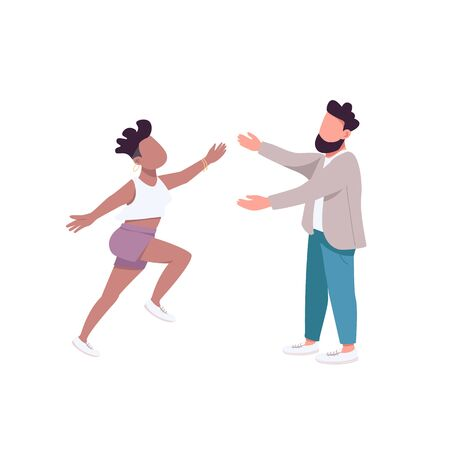 Woman run to hug man flat color vector faceless characters. Female want to embrace male friend. Happy couple. Friendship isolated cartoon illustration for web graphic design and animation