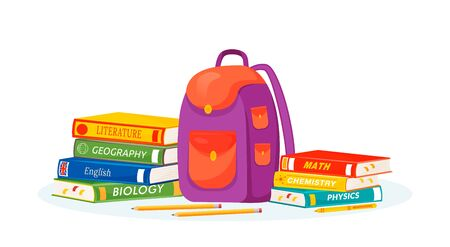 Pupil rucksack and textbooks flat concept vector illustration. Natural and formal sciences learning. High school subject metaphor. Student backpack, stationery and books 2D cartoon objects