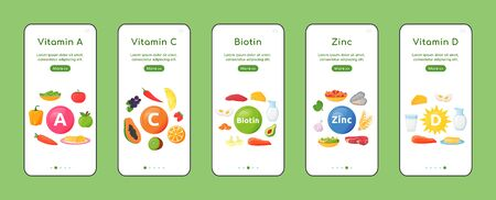 Vitamins and minerals onboarding mobile app screen flat vector template. Healthy natural diet. Walkthrough website steps with objects.