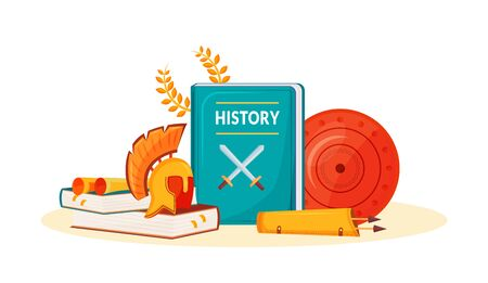 History flat concept vector illustration. School subject. Historical book. Humanities science metaphor. University course. Student textbook and ancient items 2D cartoon objects
