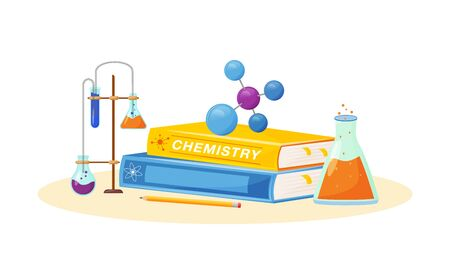 Chemistry flat concept vector illustration. School subject. Lab analysis. Natural science metaphor. Practical class. University course. Student textbook and laboratory flasks items 2D cartoon objects Vektorgrafik